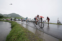 first riders over the top of the Col de Joux Plane (HC/1691m/11.6km/8.5%): Jarlinson Pantano (COL/IAM), Vincenzo Nibali (ITA/Astana) & Ion Izagirre (ESP/Movistar)<br /> <br /> Stage 20: Megève › Morzine (146.5km)<br /> 103rd Tour de France 2016