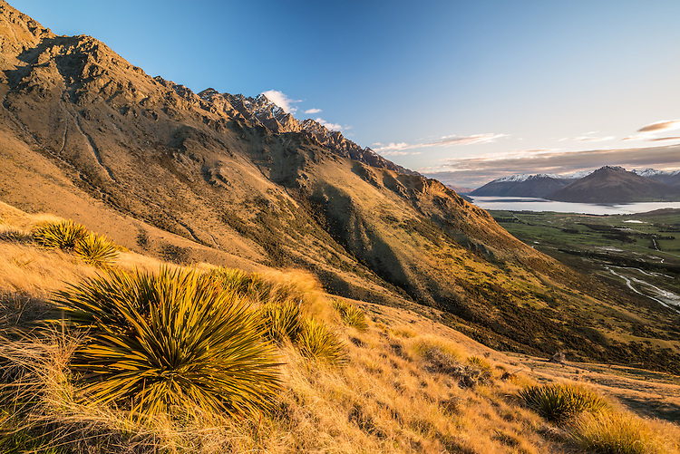 View of Lake Wakatipu from Windy Point, The Remarkables, Queenstown, New Zealand - stock photo, canvas, fine art print