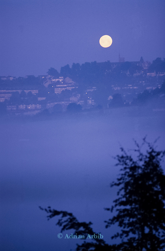 Moonlight  view from Solsbury hill.<br /> Solsbury Hill road protest.
