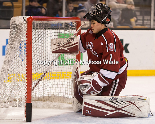 Sihak Lee (Harvard - 1) - The Harvard University Crimson defeated the Boston University Terriers 6-3 (EN) to win the 2017 Beanpot on Monday, February 13, 2017, at TD Garden in Boston, Massachusetts.