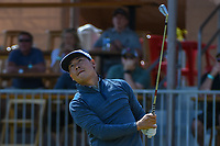 Xinjun Zhang (CHN) watches his tee shot on 16 during Round 1 of the Valero Texas Open, AT&amp;T Oaks Course, TPC San Antonio, San Antonio, Texas, USA. 4/19/2018.<br /> Picture: Golffile | Ken Murray<br /> <br /> <br /> All photo usage must carry mandatory copyright credit (&copy; Golffile | Ken Murray)