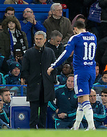 Chelsea Manager Jose Mourinho looks unimpressed as Eden Hazard of Chelsea leaves the field during the UEFA Champions League group G match between Chelsea and FC Porto at Stamford Bridge, London, England on 9 December 2015. Photo by Andy Rowland.