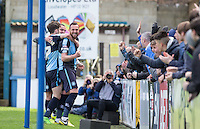 Paul Hayes (right) of Wycombe Wanderers celebrates scoring his goal during the Sky Bet League 2 match between Wycombe Wanderers and Barnet at Adams Park, High Wycombe, England on 16 April 2016. Photo by Andy Rowland.