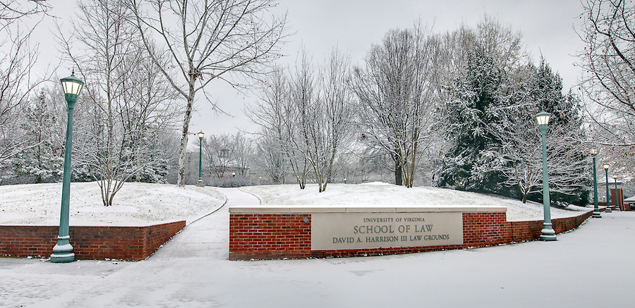 The University of Virginia School of Law  in snow on central grounds.