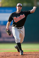 Robert Holloway #29 of the Bluefield Orioles in action versus the Johnson City Cardinals at Howard Johnson Field August 1, 2009 in Johnson City, Tennessee. (Photo by Brian Westerholt / Four Seam Images)
