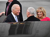 Vice President Joe Biden (L) and Dr. Jill Biden greet Vice President-elect Mike Pence at the White House before the inauguration on January 20, 2017 in Washington, D.C.  Donald Trump becomes the 45th President of the United States.      <br /> Credit: Kevin Dietsch / Pool via CNP