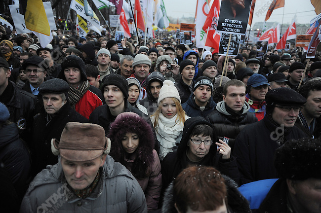 Thousand of people joined a demonstration today in central Moscow protesting the results of the recent parliamentary elections, one of the largest demonstrations in the post Soviet period. December 10, 2011