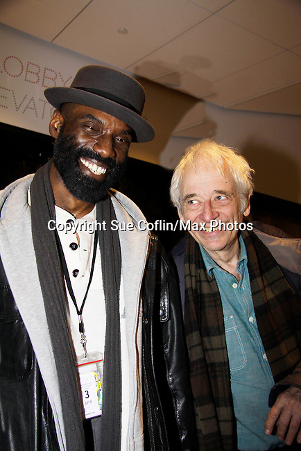 """One Life To Live Timothy Stickney """"RJ Gannon"""" stars in Shakespeare's King Lear on April 19, 2014 at Theatre for a New Audience - Polonsky Shakespeare Center, Brooklyn, New York and he poses with actor Austin Pendleton (also was on OLTL) and who performed with Timothy in Romeo and Julliet in Shakespeare in the Park, New York City, NY. (Photo by Sue Coflin/Max Photos)"""