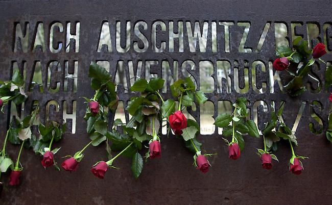 Gedenken an die Opfer der Reichspogromnacht 1938 und des Holocaust<br /> Am 9. November 2002 gedachten in Berlin ca. 400 Menschen mit einer Antifaschistischen Kundgebung der Opfer der der Reichsprogromnacht 1938 und des Holocaust. Sie demosntierten ebenfalls gegen die Zunahme von antisemitischen Uebergriffen gegen Juden und Juedinnen in Deutschland. Uebrlebende Zeitzeugen des NS-Regimes wandten sich mit scharfen Worten gegen die Asylpolitik der Bundesregierung und forderten die Aufloesung der Abschiebegefangnisse.<br /> Hier: Kundgebungsteilnehmer steckten Rosen zum Andenken an die Toten in das Mahnmahl. Das Mahnmal steht an der Stelle, wo die ehemals groesste Synagoge Berlins, in der Moabiter Levetzowstr, stand.<br /> 9.11.2002, Berlin<br /> Copyright: Christian-Ditsch.de<br /> [Inhaltsveraendernde Manipulation des Fotos nur nach ausdruecklicher Genehmigung des Fotografen. Vereinbarungen ueber Abtretung von Persoenlichkeitsrechten/Model Release der abgebildeten Person/Personen liegen nicht vor. NO MODEL RELEASE! Nur fuer Redaktionelle Zwecke. Don't publish without copyright Christian-Ditsch.de, Veroeffentlichung nur mit Fotografennennung, sowie gegen Honorar, MwSt. und Beleg. Konto: I N G - D i B a, IBAN DE58500105175400192269, BIC INGDDEFFXXX, Kontakt: post@christian-ditsch.de<br /> Bei der Bearbeitung der Dateiinformationen darf die Urheberkennzeichnung in den EXIF- und  IPTC-Daten nicht entfernt werden, diese sind in digitalen Medien nach &sect;95c UrhG rechtlich geschuetzt. Der Urhebervermerk wird gemaess &sect;13 UrhG verlangt.]