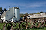 Washington, Pullman, Palouse, Uniontown. The Historic Dahmen Barn, silo and wagonwheel fence is a landmark on the Palouse of South Eastern Washington.