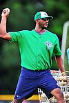 24 July 2010: Vermont Lake Monsters Pitching Coach Franklin Bravo throws batting practice prior to a game against the Lowell Spinners at Centennial Field in Burlington, Vermont. The Lake Monsters fell to the Spinners 11-5 in NY Penn League action. Mandatory Credit: Ed Wolfstein Photo