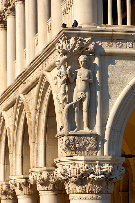 Statue Of Adam & Eve  - The Doge's Palace - Venice Italy.