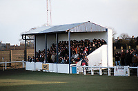 The main stand at Evenwood Town FC, Welfare Ground, Stones End, Evenwood, County Durham, pictured on 1st April 1994