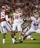 Hawgs Illustrated/BEN GOFF <br /> Connor Limpert kicks a field goal with Reid Miller holding in the third quarter against Alabama Saturday, Oct. 14, 2017, at Bryant-Denny Stadium in Tuscaloosa, Ala.