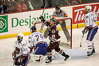Jun 7, 2007; Hamilton, ON, CAN; Hershey Bears left winger (14) Tomas Fleischmann celebrates a goal on Hamilton Bulldogs goalie (29) Carey Price by right winger (15) Jakub Klepis (not pictured) during the second period in game five of the Calder Cup finals at Copps Coliseum in Hamilton, ON. Mandatory Credit: Ron Scheffler