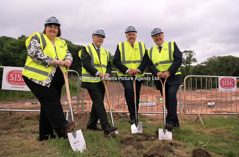 Pictured L-R: Debbie Wilcox, Sir Terry Matthews, Carwyn Jones and Stephen Bowcott. Friday 23 June 2017<br />Re: First Minister for Wales Carwyn Jones has joined Sir Terry Matthews, Chairman of the Celtic Manor Resort; Stephen Bowcott, Chief Executive of Sisk Group Construction; and Debbie Wilcox, Leader of Newport City Council, to break ground on the site of the new ICC Wales.<br />Around 80 invited guests from the public and private sectors of the events industry have also witnessed the ground breaking ceremony which marks the official start of the construction of the new venue, due to open in 2019.<br />The dignitaries will use commemorative spades to symbolically dig the first ground on the new site, marking the start of building work in earnest.