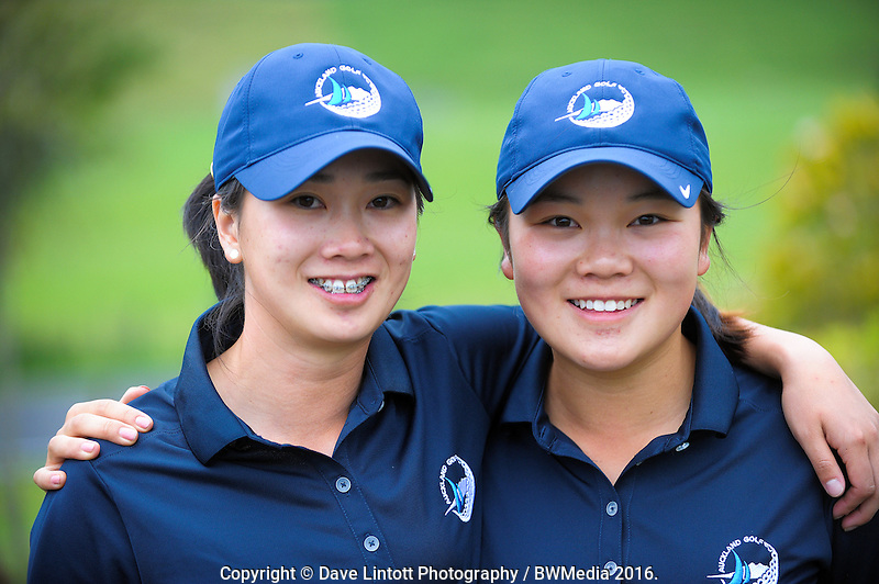 Munchin and Siyi Keh (Auckland). 2016 Toro Women's Interprovincial Golf Championship at Westown Golf Club in New Plymouth, New Zealand on Saturday, 10 December 2016. Photo: Dave Lintott / lintottphoto.co.nz