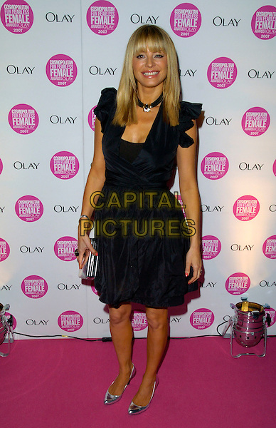 TESS DALY.Cosmopolitan Fun Fearless Female Awards 2007 held at Cirque, Leicester Square, London, England. .November 6th 2007 .full length black dress silver shoes .CAP/CAN.©Can Nguyen/Capital Pictures