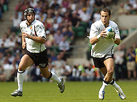 Twickenham, GREAT BRITAIN, 2004 Heineken Cup Final. Frederic Michalak and Yann Delaigue, during the  London London Wasps v Toulouse, final at Twickenham on  23/05/2004  [Credit Peter Spurrier/Intersport Images]   [Mandatory Credit, Peter Spurier/ Intersport Images].