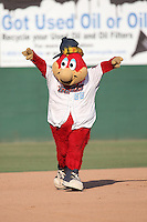 Inland Empire 66ers mascot Bernie runs the bases during a game against the Visalia Rawhide at San Manuel Stadium on June 26, 2016 in San Bernardino, California. Inland Empire defeated Visalia, 5-1. (Larry Goren/Four Seam Images)