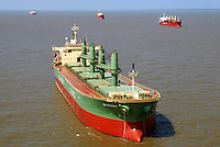 Navios aguardam embarque no porto de Vila do Conde no rio Par&aacute;. <br /> Companhia Docas do Par&aacute;.<br /> Barcarena, Par&aacute;, Brasil<br /> Foto Paulo Santos<br /> 2008 Latitude:    01&deg; 32' 37.2&quot; S<br /> Longitude: 48&deg; 44' 47.4&quot; W