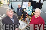 Pictured at the launch of the Kerry Cancer Support group bus at their centre in Kerry Lee, Oakpark, Tralee on Wednesday which will bring Kerry cancer patients to Cork for treatment, from left are Tim Corkery Mort Galvin Treasurers, and at back John O'Shea and Marie McNamara Irish cancer Society supervisor demonstrating the buses wheelchair ramp.