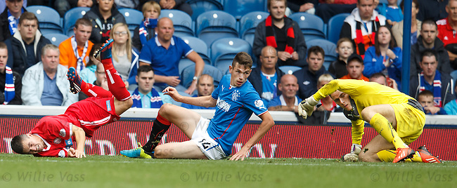 Derek Carcary, Kyle McAusland and Scott Gallacher rolling on the Ibrox turf