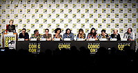 FX FEARLESS FORUM AT SAN DIEGO COMIC-CON© 2019: L-R: Moderator/Cast Member Evan Rachel Wood, Cast Member/Director/Writer/Producer Jemaine Clement, Writer/Producer/Cast Member Taika Waititi, Executive Producer Paul Simms, Writer/Co-Executive Producer Stefani Robinson, Cast Members Matt Berry, Natasia Demetriou, Kayvan Novak, Harvey Guillén, Mark Proksch and Visual Effects Supervisor Brendan Taylor during the WHAT WE DO IN THE SHADOWS panel on Saturday, July 20 at SAN DIEGO COMIC-CON© 2019. CR: Frank Micelotta/FX/PictureGroup © 2019 FX Networks
