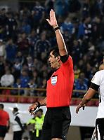 BOGOTA - COLOMBIA – 28 - 02 - 2018: Roddy Zambrano Olmedo, arbitro Ecuatoriano, durante partido entre Millonarios (COL) y Corinthians (BRA), de la fase de grupos, grupo 7, fecha 1 de la Copa Conmebol Libertadores 2018, en el estadio Nemesio Camacho El Campin, de la ciudad de Bogota. / Roddy Zambrano Olmedo, Ecuadorian referee, during a match between Millonarios (COL) and Corinthians (BRA), of the group stage, group 7, 1st date for the Conmebol Copa Libertadores 2018 in the Nemesio Camacho El Campin stadium in Bogota city. VizzorImage / Luis Ramirez / Staff.