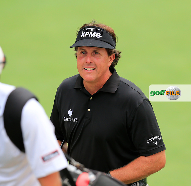 Phil Mickelson (USA) in action during Tuesday's Practice Day of the 95th US PGA Championship 2013 held at Oak Hills Country Club, Rochester, New York.<br /> 6th August 2013.<br /> Picture: Eoin Clarke www.golffile.ie