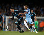 Hal Robson-Kanu of West Bromwich Albion in action with Fernandinho of Manchester City during the English Premier League match at the Etihad Stadium, Manchester. Picture date: May 16th 2017. Pic credit should read: Simon Bellis/Sportimage