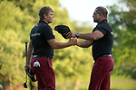 SUGAR GROVE, IL - MAY 29: Mason Overstreet of the University of Arkansas is congratulated by his coach Brad McMakin following the Division I Men's Golf Individual Championship held at Rich Harvest Farms on May 29, 2017 in Sugar Grove, Illinois. Overstreet placed second with a -7 score. (Photo by Jamie Schwaberow/NCAA Photos via Getty Images)