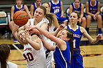 02/05/13--Gladstone Gladiators' Molly Webster (top) and Jessica Peterson (10) fight for a loose ball against La Salle Prep Falcons' Ellie Mulvaney (11) and Tori Goodman (1) in the first half at Gladstone High School....Photo by Jaime Valdez. .