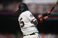 SAN FRANCISCO, CA - APRIL 3:  Brandon Crawford #35 of the San Francisco Giants bats against the Seattle Mariners during the game at AT&T Park on Tuesday, April 3, 2018 in San Francisco, California. (Photo by Brad Mangin)