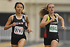 Samantha Law of Great Neck North, left, stays at the front in the girls 1,500 meter run during a Nassau County indoor track and field meet at St. Anthony's High School on Wednesday, Nov. 30, 2016. She won the event.