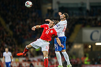 Gareth Bale of Wales and Luka Milivojevic of Serbia during the FIFA World Cup Qualifying match between Wales and Serbia at the Cardiff City Stadium, Cardiff, Wales on 12 November 2016. Photo by Mark  Hawkins.