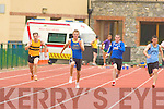 Dylan Roche St Brendans's, Paudie Whelan Tralee Harriers, Conal O'Callaghan Spa/Muckross, John Corr Leevale and Kieran McCabe Riocht competing in 100 metres in the Junior and Master Athletic championships at An Riocht, Castleisland on Wednesday evening.