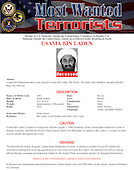 """FBI """"Most Wanted Terrorist"""" poster picturing Usama Bin Laden released in Washington, D.C. on Monday, May 2, 2011 following the  announcement of his death in a U.S. 'Targeted Operation in Pakistan on Sunday, May 1, 2011..Credit: FBI via CNP"""