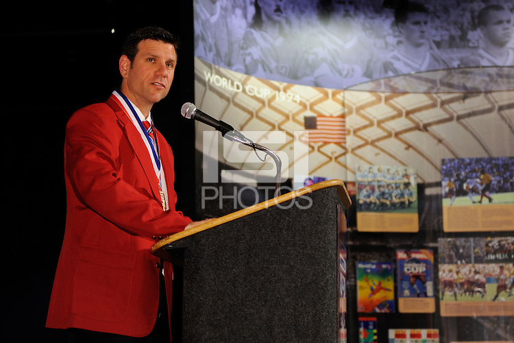 Former US National Team player and five time MLS Cup champion Jeff Agoos gives his acceptance speech during the induction ceremony for the National Soccer Hall of Fame at Wright Soccer Campus in Oneonta, NY, on August 2, 2009.