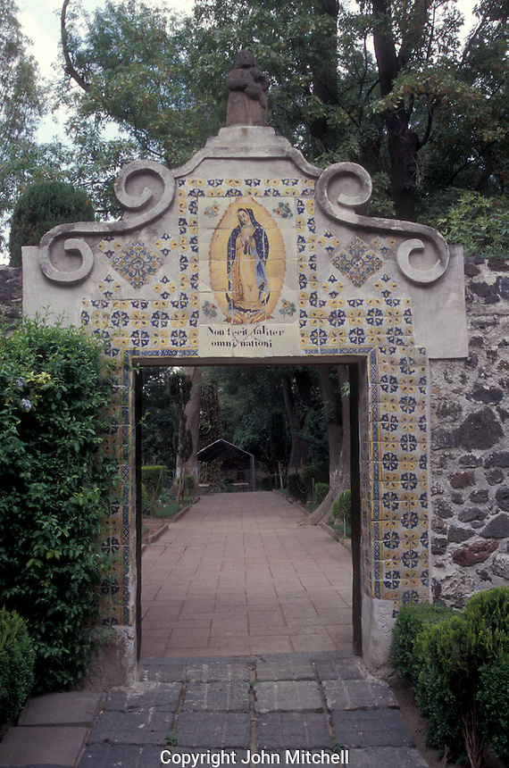 Gateway decorated with Talavera tiles and image of the Virgin of Guadalupe at the Ex-Convento de Curubusco or National Museum of Interventions, Coyoacan, Mexico City