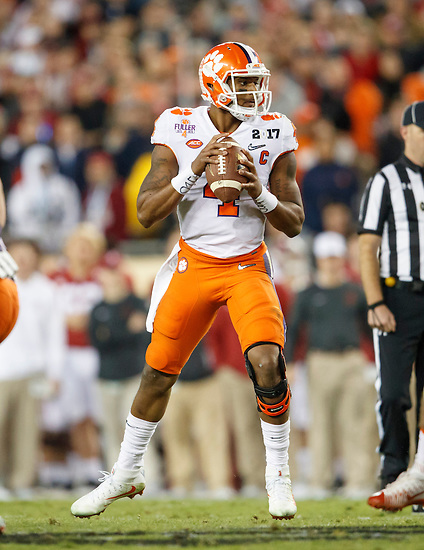 JANUARY 9, 2017: Clemson QB Deshaun Watson looks downfield during Clemson's 35-31 victory over Alabama in the 2017 College Football Playoff National Championship game at Raymond James Stadium. (Photo by Matt May)