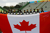 29th October 2019; Bezerrao Stadium, Brasilia, Distrito Federal, Brazil; FIFA U-17 World Cup Brazil 2019, Angola versus Canada;  Players of Canada line up for their anthem in front of the national flag - Editorial Use