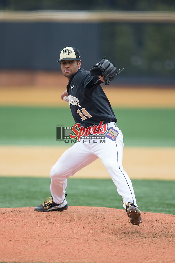 Wake Forest Demon Deacons relief pitcher Donnie Sellers (14) in action against the Towson Tigers at Wake Forest Baseball Park on March 1, 2015 in Winston-Salem, North Carolina.  The Demon Deacons defeated the Tigers 15-8.  (Brian Westerholt/Sports On Film)