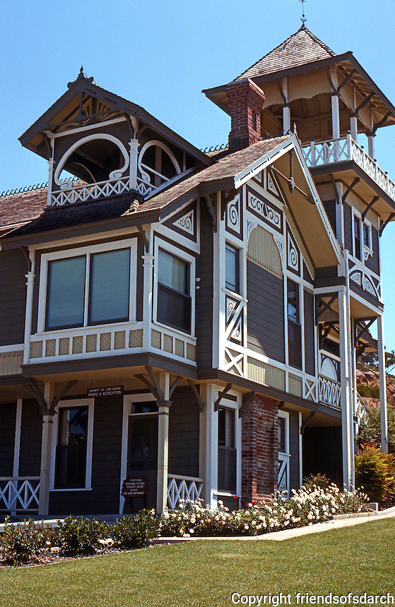 San Diego: Sherman-Gilbert House, 1889. (Cottage-Italianate Bracketed and traces of Stick Eastlake.) Photo '78.