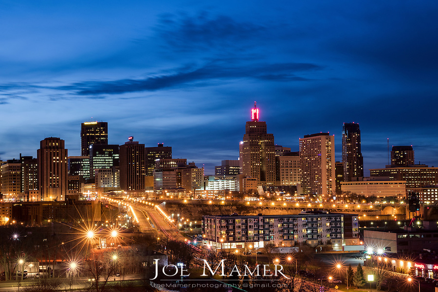Saint Paul skyline at dusk.