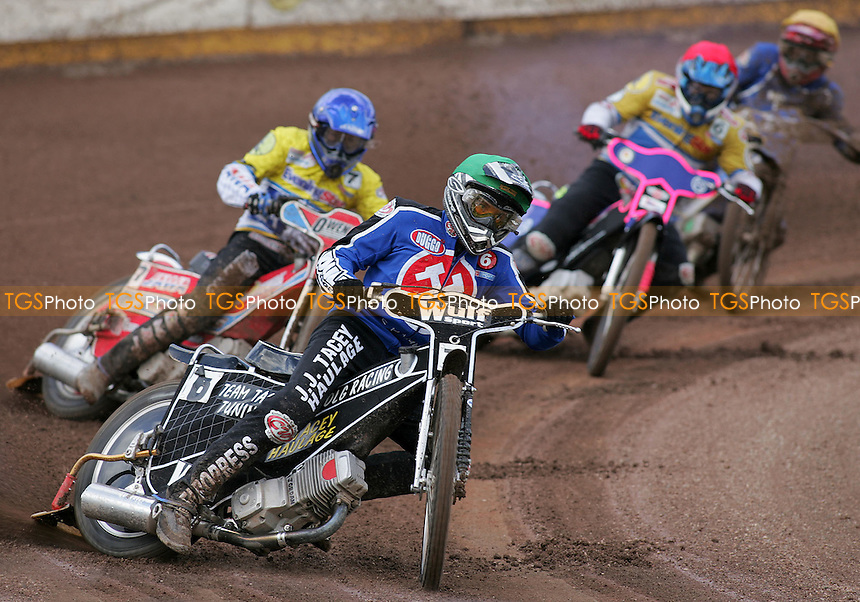 Ipswich Witches vs Arena Essex - Elite League 'A' - 14/04/06 - Heat 2- Shaun Tacey leads out ahead of Daniel King (blue), Jan Joras and Justin King - (Gavin Ellis 2006)