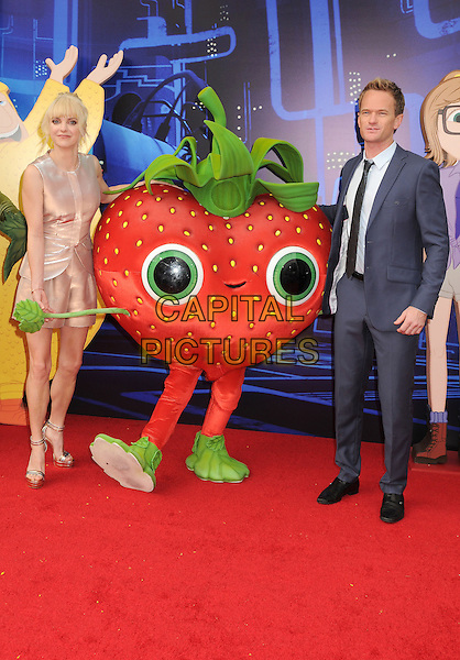 Anna Faris, Neil Patrick Harris<br /> &quot;Cloudy With A Chance Of Meatballs 2&quot; Los Angeles Premiere held at Regency Village Theatre, Westwood, California, USA, <br /> 21st  September 2013.<br /> full length beige gold pink rose shiny leather playsuit shorts layered sleeveless ankle strap platform shoes sandals blue suit tie black strawberry <br /> CAP/ADM/BP<br /> &copy;Byron Purvis/AdMedia/Capital Pictures