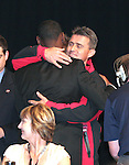 12 January 2007: Maurice Edu (l) hugs University of Maryland head coach Sasho Cirovski (r) after being selected by Toronto FC with the overall #1 pick. The 2007 MLS SuperDraft was held in the Indianapolis Convention Center in Indianapolis, Indiana during the National Soccer Coaches Association of America's annual convention.