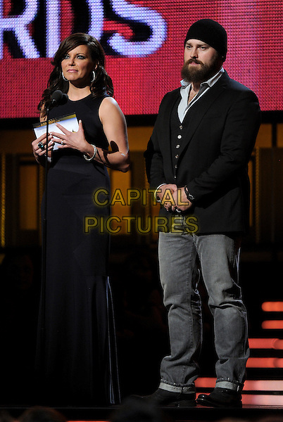 LOS ANGELES, CA - JANUARY 26 : (L-R) Martina McBride and Zac Brown speak onstage at The 56th Annual GRAMMY Awards at Staples Center on January 26, 2014 in Los Angeles, California.<br /> CAP/MPI/PG<br /> &copy;PGFMicelotta/MediaPunch/Capital Pictures
