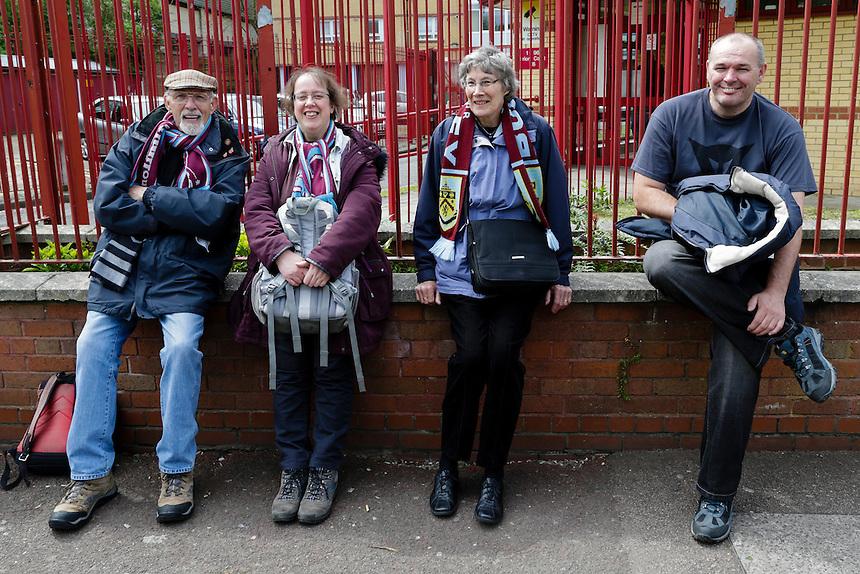 Burnley fans outside the Boleyn Ground<br /> <br /> Photographer Craig Mercer/CameraSport<br /> <br /> Football - Barclays Premiership - West Ham United v Burnley - Saturday 2nd May 2015 - Boleyn Ground - London<br /> <br /> &copy; CameraSport - 43 Linden Ave. Countesthorpe. Leicester. England. LE8 5PG - Tel: +44 (0) 116 277 4147 - admin@camerasport.com - www.camerasport.com